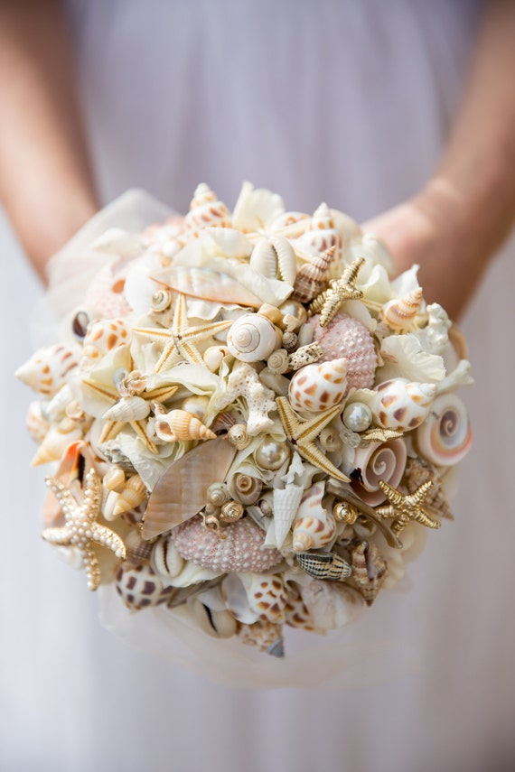 beach inspired shell bouquet