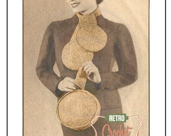 1930s Hat, Bag and Scarf  Vintage Crochet Pattern – PDF Knitting Pattern -  Instant Download