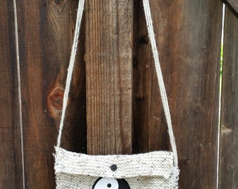 Hand knitted purse with ying-yang patch 10% DONATION goes to DACHSHUND RESCUE