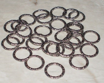Distressed Heavy Antiqued Tibetan Silver Closed Jump Rings/Connectors - 14MM