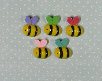 6 Bee Cabochons - Mixed Colors - Resin, Supplies, Commercial