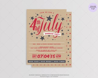 4th of July BBQ Party Invitation Invitation - DIY Printable - Independence Day Barbecue Party