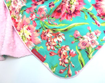IN STOCK Baby Blanket in Amy Butler Love Bliss Bouquet in Aqua and Coral 30X36 - Boutique Minky Baby Blanket - baby girl shower gift