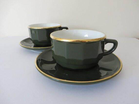 apilco petit d jeuner tasse de vert et or de 1980 vintage et. Black Bedroom Furniture Sets. Home Design Ideas