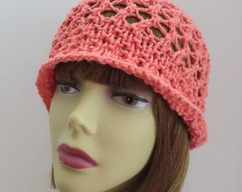 Vintage Flapper Hat Cotton PDF 220 Knitting Pattern, Lace Hat, Summer Hat, Knitted Hat, Flapper Hat, Cloche
