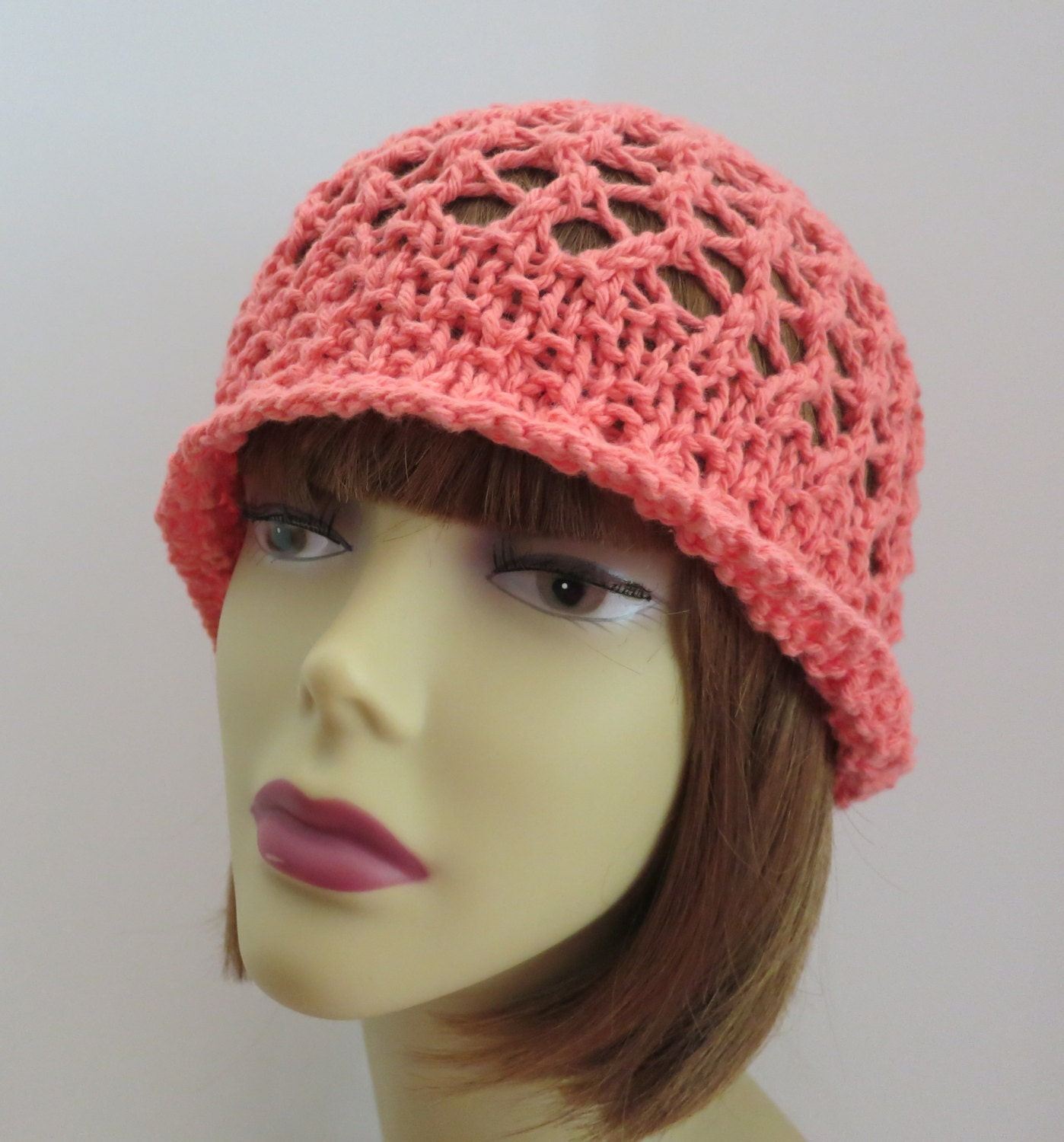 Knitting Pattern Vintage Hat : Vintage Flapper Hat Cotton PDF 220 Knitting Pattern Lace Hat