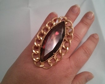 Altered Huge Faceted Glass Purple Stone Brooch into gold metal color Adjustable Ring