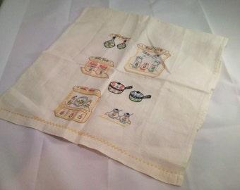 Vintage Linen Table or tea towel with delicate handstitch kitchen motif