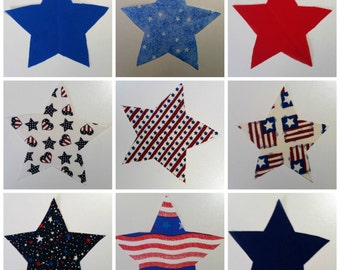 4th of July Iron On Applique - READY TO SHIP -  Star Applique - Iron On Stars - July 4th Iron On Star