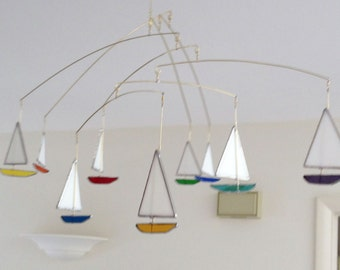 Stained Glass Sailboat Mobile - Horizontal Design