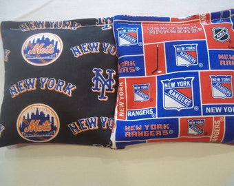 8 ACA Regulation Cornhole Bags - MLB New York Mets & New York Rangers NHL