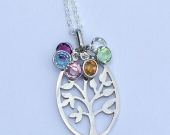 Family tree pendant necklace with Swarovski Birthstones and tree charm - Mothers necklace - family necklace