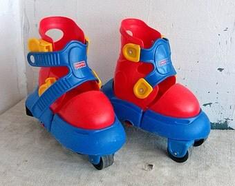 Vintage children's adjustable skates Fisher Price MATTEL plastic roller skate Kids rollschuhe Grow with me skates Skating Children toy sport
