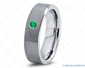Tungsten Wedding Band,6mm,Mens Wedding Bands,Green Emerald Band,Mans,Mens,Carbide,Male,Diamond RIng,Men,His,Hers,Set,Size,Him,Custom Made