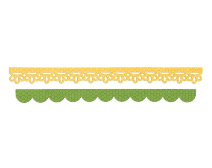 New! Sizzix Sizzlits Decorative Strip Die - Eyelet Lace & Scallops by Doodlebug Design