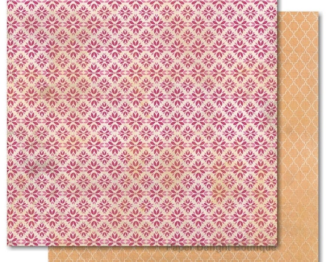"2 Sheets of My Mind's Eye INDIE CHIC Saffron ""Create"" 12x12 Scrapbook Paper - Lattice"