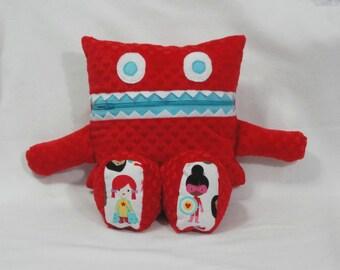 Monster Pajama Eater - Cuddle Minky/ Girl Superhero/ Pajama Keeper/ Pajama Bag/ Pillow Friend/ Secret Keeper/ Stuffed Toy/ Childrens Gift