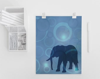 Elephant Silhouette Art Print 4x6, 5x7, African Elephant Art, Elephant Nursery Decor, Safari Animal Art, African Animal Art, Geometric Art