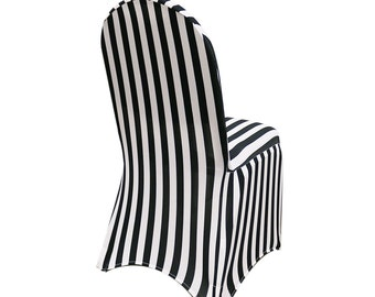 Spandex Chair Cover Black And White Striped | Stretch Chair Covers