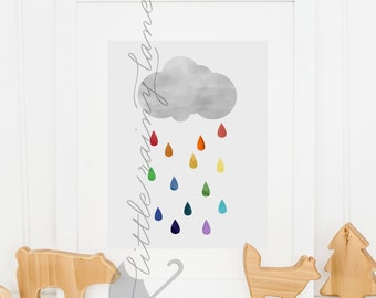 Nursery Decor - Nursery art - cloud with raindrops