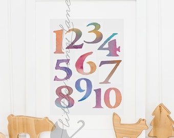 Nursery Decor - Nursery art - numbers print - watercolor