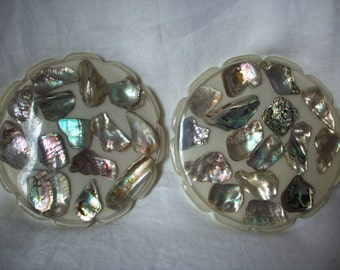 Opalescent Abalone Shell Trivets, Vintage Lucite, Set of 2