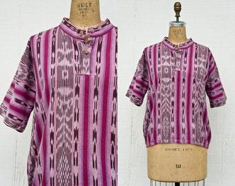 VINTAGE 1970s ikat guatemalan woven cotton blouse | Ethnic woven magenta festival top | Rare ikat textile blouse