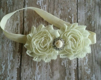 Ivory Headband-Flower girl headband-Baptisim headband-Christening-Baby girl headband-Infant-Toddler-baby shower gift-wedding-flower headband
