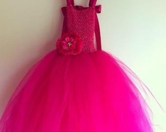 Fuschia Fluffy Princess/Birthday Dress- satin ribbon straps