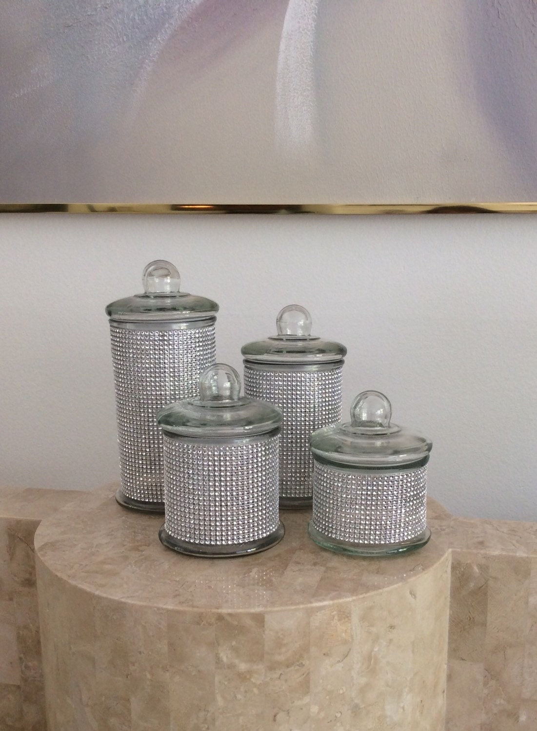 beautiful 4 piece set of silver bling glass jars perfect for