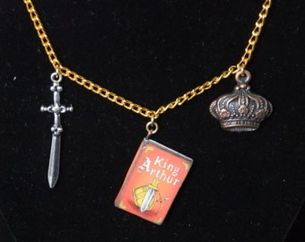King Arthur Book Necklace - Version 2