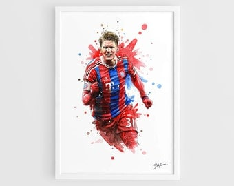 Bastian Schweinsteiger Bayern Munich - A3 Wall Art Print Poster of the Original Watercolor Painting Football Posters Soccer Posters
