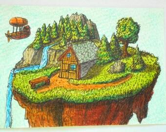 Fantasy art print from original drawing- original fantasy aceo art- ink and pencil artwork aceo card 'A Villa of a Magician'