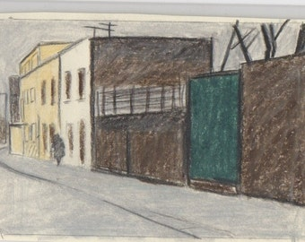 Street of old houses, drawing