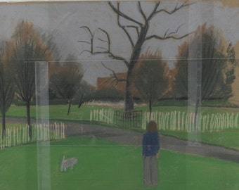 Girl with dog, Clissold Park, drawing