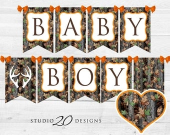 Instant Download Camo Baby Shower Banner, Hunter Orange Camouflage Bunting  Banner, Realistic Camo Pendent