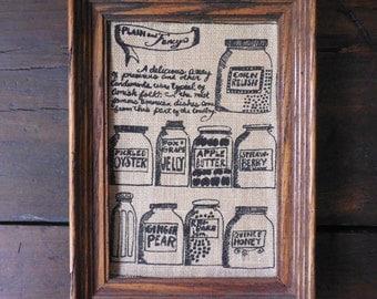 Framed Burlap Kitchen Print ~ Jars of Jelly Honey Jam & Apple Butter - Farmhouse Kitchen Wall Art  /0463