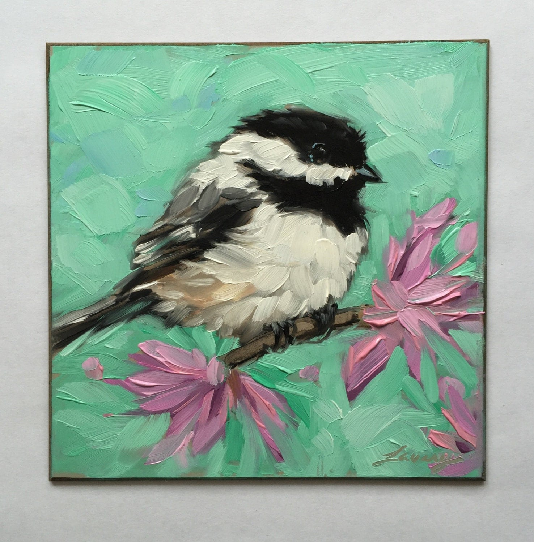 Chickadee painting original impressionistic oil painting of a for Peinture mural original
