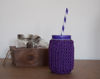 Mason Jar Cozy Ribbed cozy Set with Reusable Straw