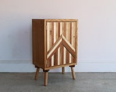 Vintage Bed Side Cupboard | Abstract Sideboard | Retro Cabinet | One Off | Bedside Table | Office Storage | Rustic Handmade