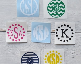Circle Monogram Decal / Vinyl Monogram / Monogram Sticker / Monogram Car Sticker / Monogram Car Decal / Custom Car Decal / Initial Decal
