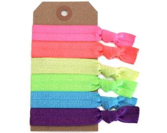 NEON Elastic Hair Ties, Ponytail Holders, Stretchy Ribbon Hair Ties, Elastic Hair Accessories, Yoga Hair Ties, Boho