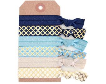 BLUE MOROCCAN Hair Tie Set  Ponytail Holders, Stretchy Ribbon Hair Ties, Elastic Hair Accessories, Yoga Hair Ties, Boho