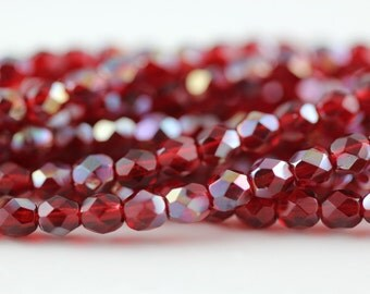 50 Ruby-Celsian, 4mm Czech fire-polished glass faceted round (FP-4M-141)