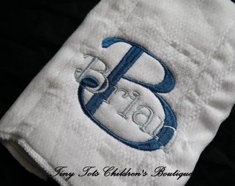 Monogram Burp Cloth - Boy Personalized Burp Cloth - Baby - Boy - Newborn - Baby Shower Gift