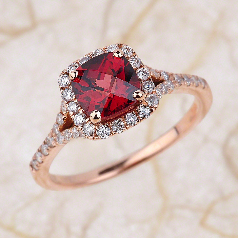 Garnet Bands: Garnet Engagement Ring 14kt Rose Gold With By EJCOLLECTIONS