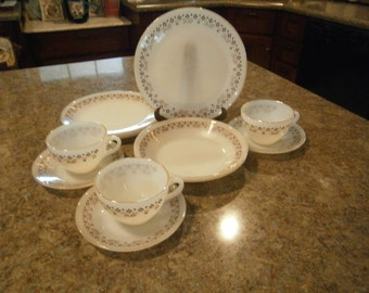 Termocrisa Dinnerware, 12 Pcs, Milk Glass, Brown, Kitsch, Checkerboard, Old Fashioned, Vintage