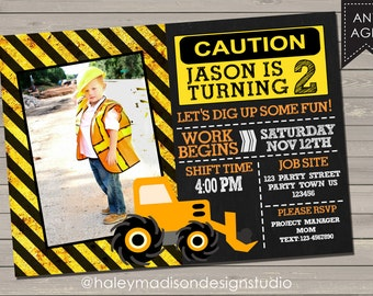 Construction Birthday Party Invitation DIGITAL FILE