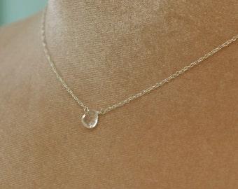 Rock crystal necklace, April birthstone necklace, bridesmaid necklace dainty necklace silver - Natalie