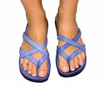 New Ladies BLUE  Leather  Summer Fashion Sandals  Handmade Flip-Flop Size's : US 5-10.5  EU 35-42